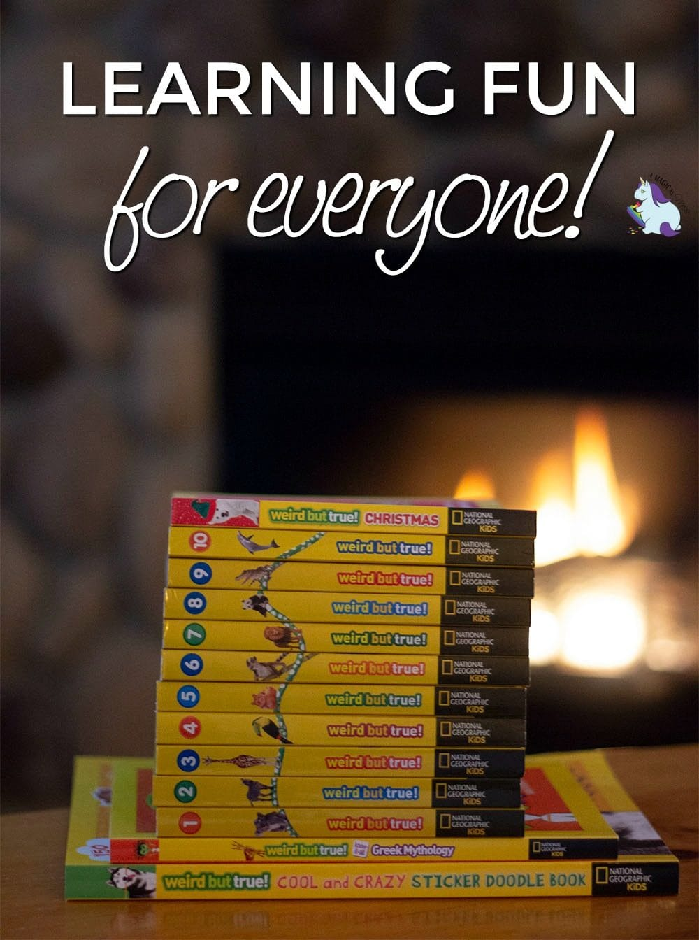Stack of National Geographic Kids Weird but True facts books