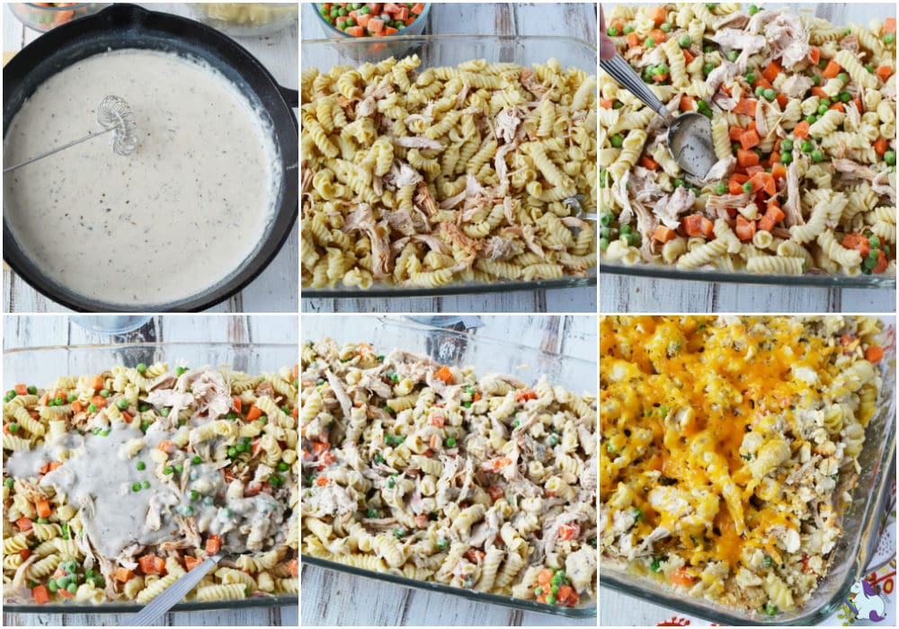 Turkey Pasta Bake Recipe with Veggies and Cheese steps