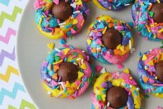 Rainbow swirl cookies with a chocolate kiss
