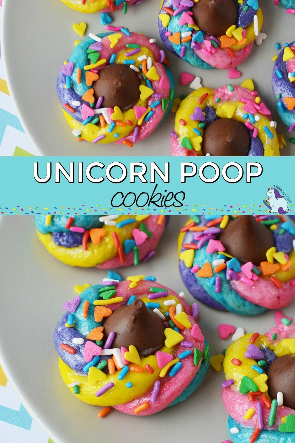 Unicorn poop cookies on a plate collage