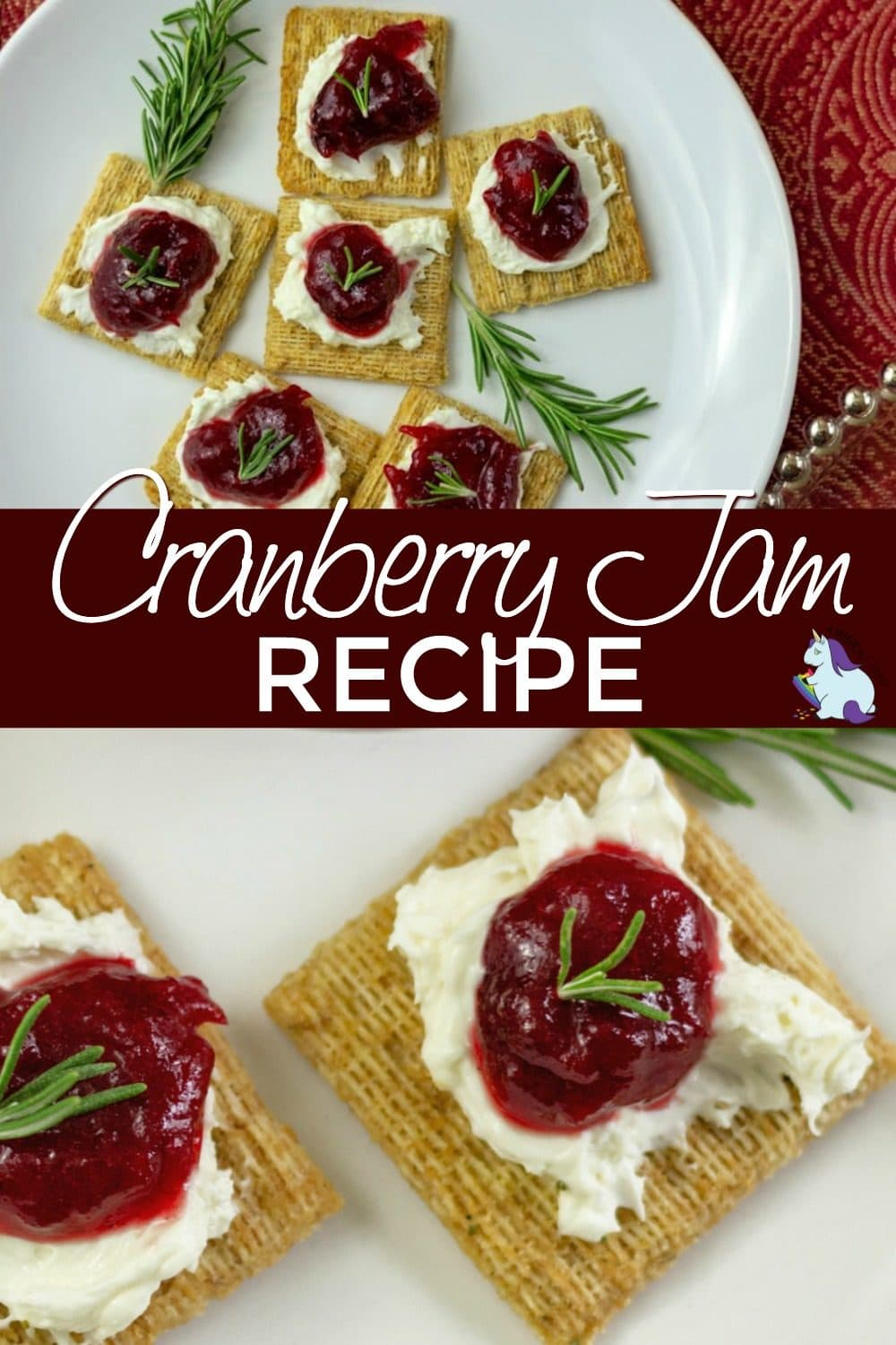 Crackers with cranberry jam on top
