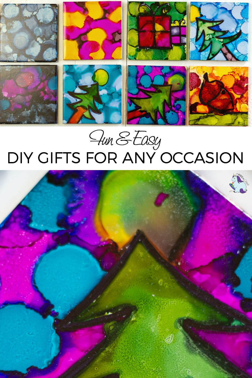 Fun and Easy DIY Gifts - colorful alcohol ink tile coasters