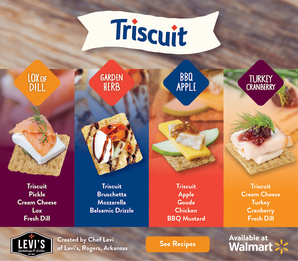 Snack and appetizer ideas from Chef Levi using Triscuit crackers