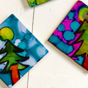 Colorful ink trees on tiles