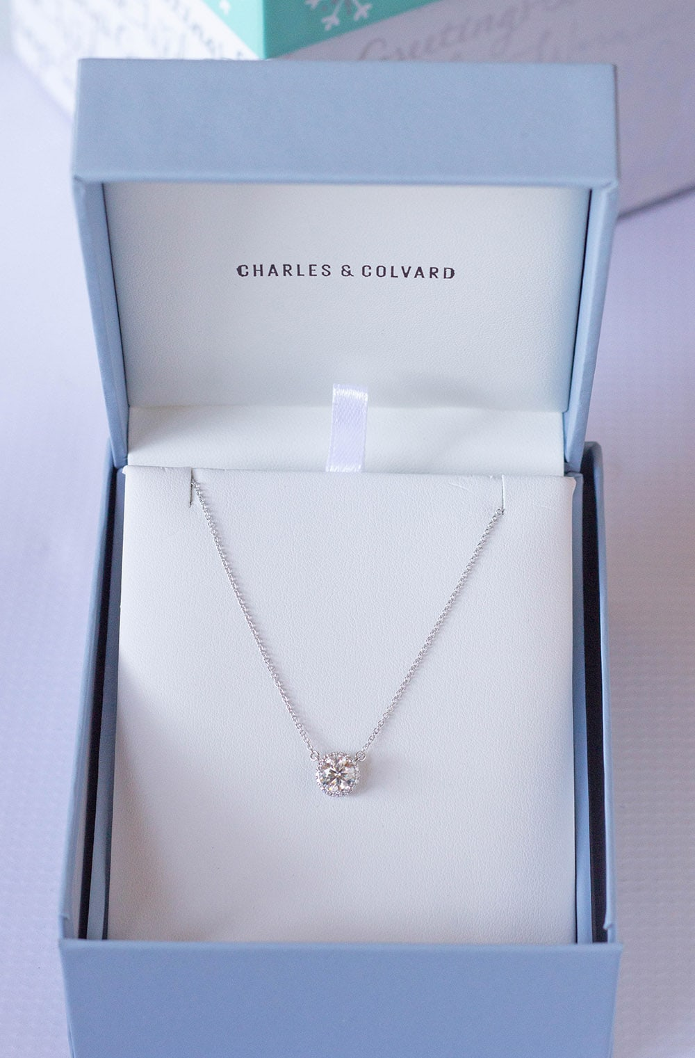 Charles & Colvard Signature Halo Moissanite Necklace 0.91CTW in 14K White Gold