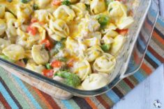 Chicken broccoli bake with tortellini in pan