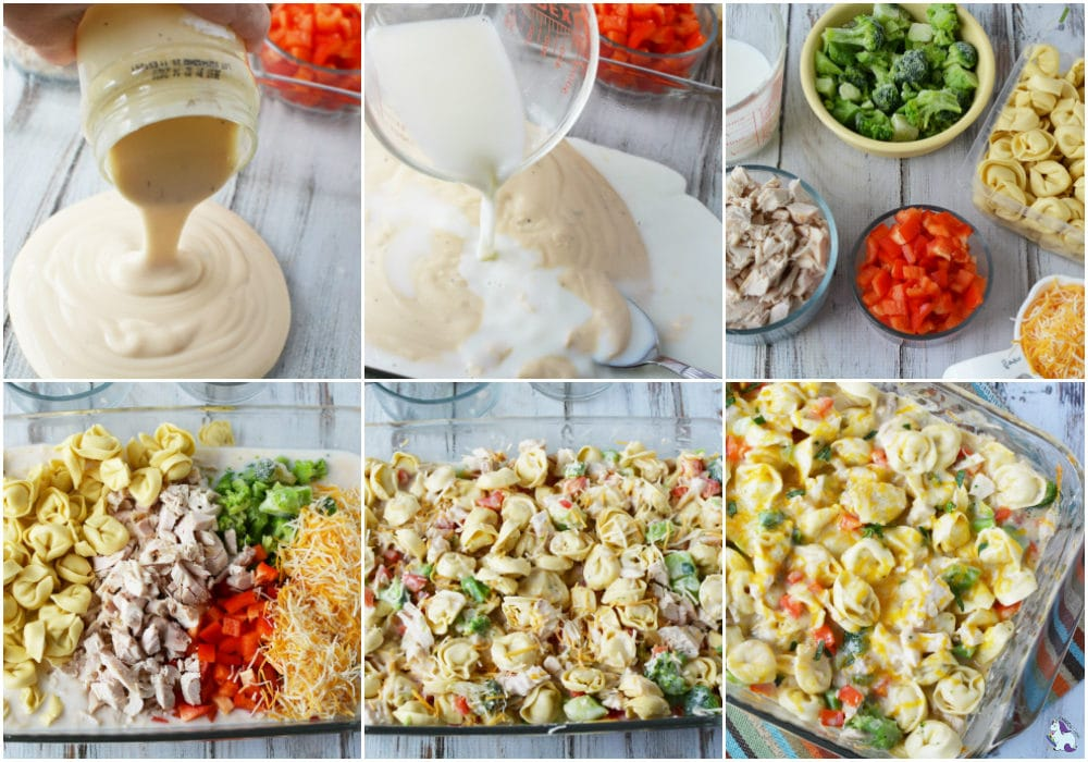 recipes steps for chicken broccoli bake with tortellini