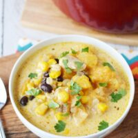 Chicken Corn Chowder with butternut squash and black beans