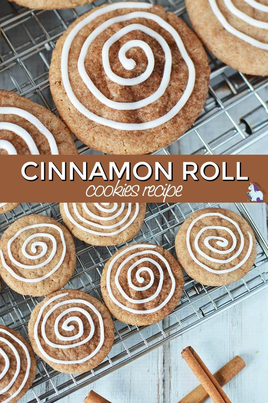 Cinnamon roll cookies on a baking rack