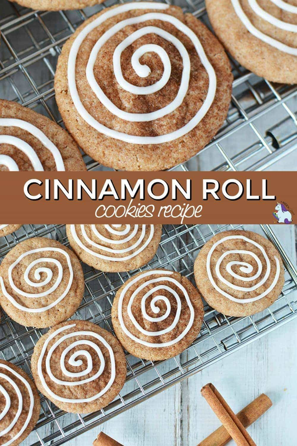 Cinnamon roll cookies on a baking rack