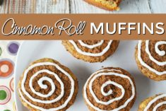 Overhead shot of cinnamon roll muffins on a plate and one broken open.