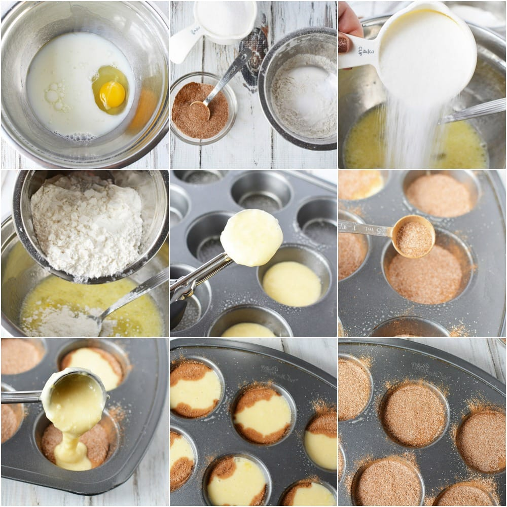 Collage of steps to make cinnamon roll muffins.