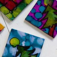 Alcohol Ink art on tiles