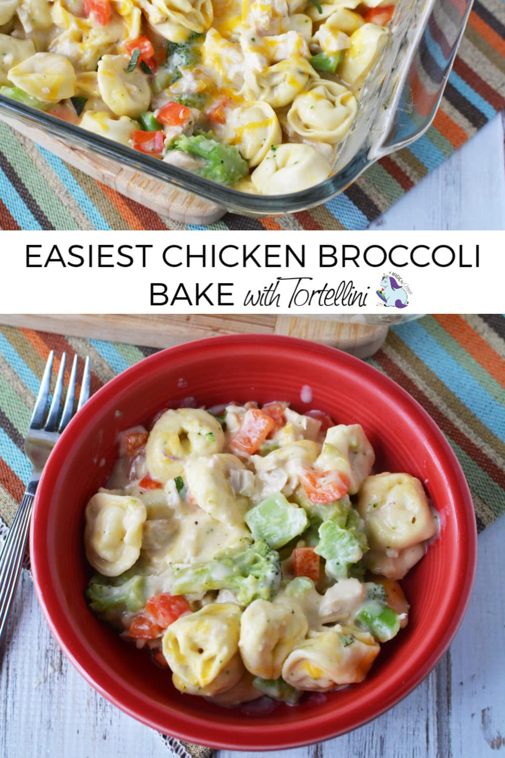 chicken broccoli bake in pan and bowl