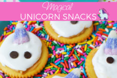 Magical Unicorn Snacks on a bed of sprinkles