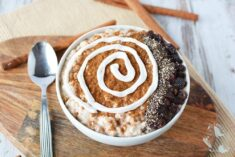 Smoothie bowl with yogurt swirl to look like a cinnamon roll.