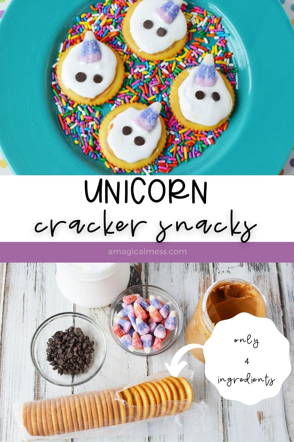 plate of unicorn crackers and ingredients