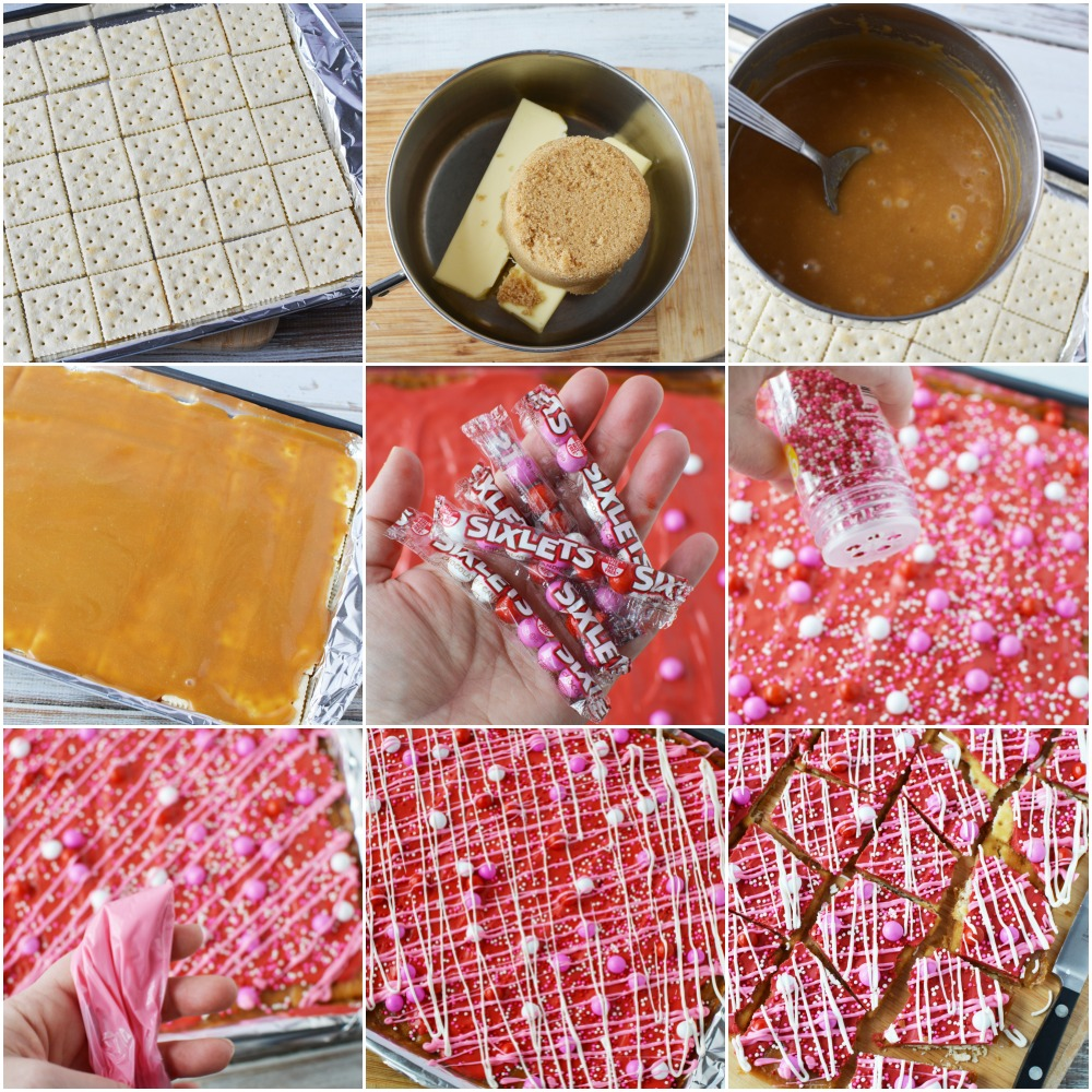 Crack candy in process steps.