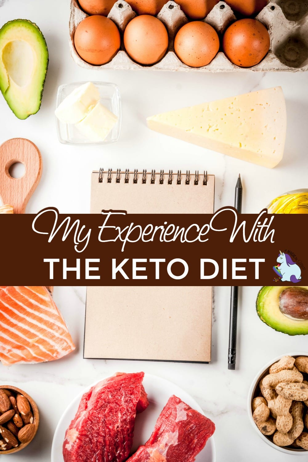 Low carb foods, healthy fat foods surrounding a notebook for the keto diet
