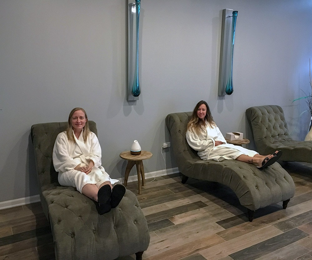 Jen and Colleene in the relaxation room after going in float tanks.