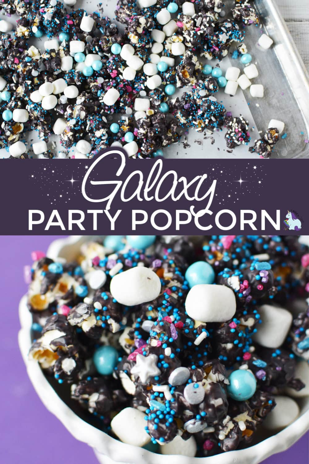 Galaxy Party Popcorn on purple background