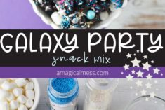 Snack mix and marshmallows for a galaxy party