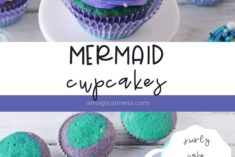 blue swirled cupcakes with mermaid fins