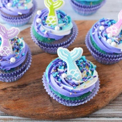 Mermaid cupcakes on a serving board