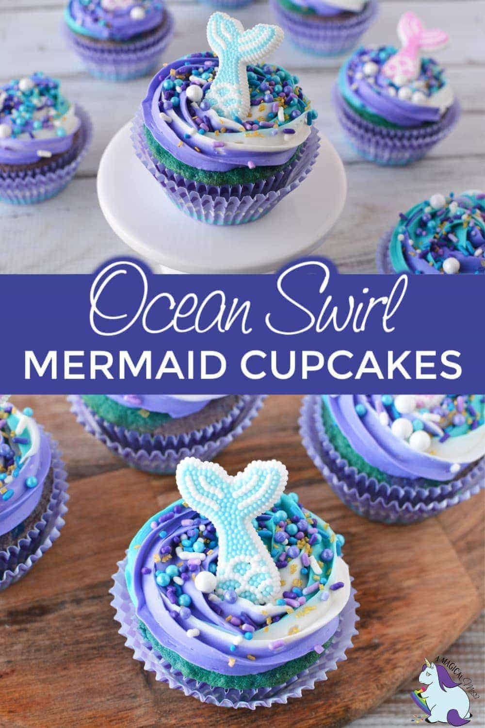 Mermaid cupcakes with a sugary fin topping.