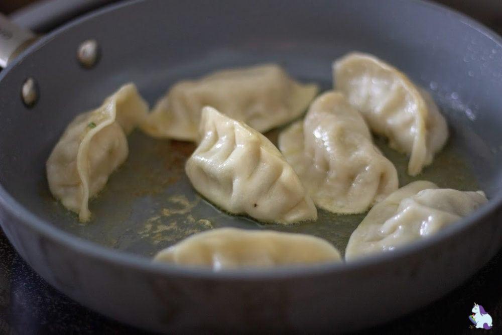 potstickers in pan