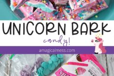 Colorful bark candy for a unicorn party