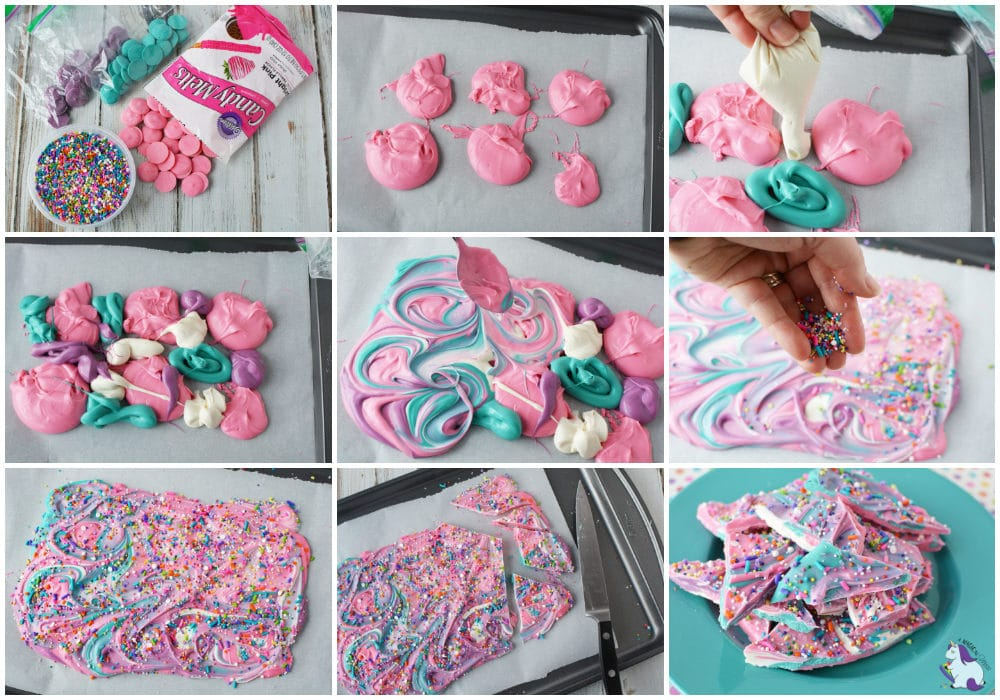 Unicorn bark recipe steps