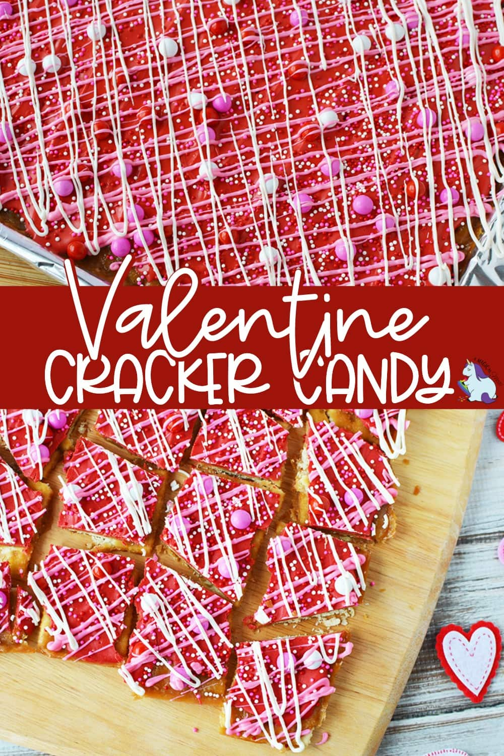 Cracker candy with Valentine's day colors