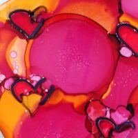 alcohol ink art with heart designs