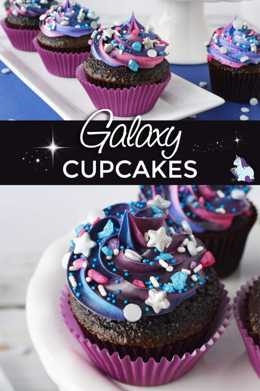 Galaxy cupcakes with sprinkles