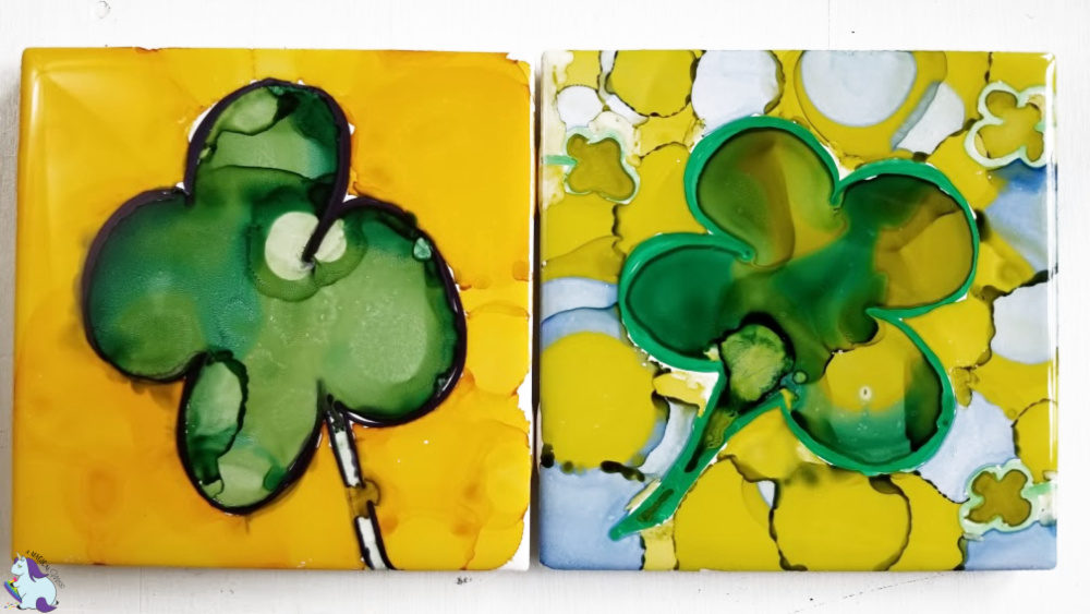 abstract alcohol ink four leaf clovers on tile
