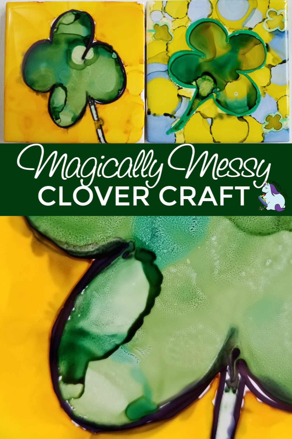 Lucky four-leaf clover crafts perfect for St. Patrick's Day! #AlcoholInk #StPatricksDay #art #crafts #diy #projects #homemade #homemadegifts #clovers #green