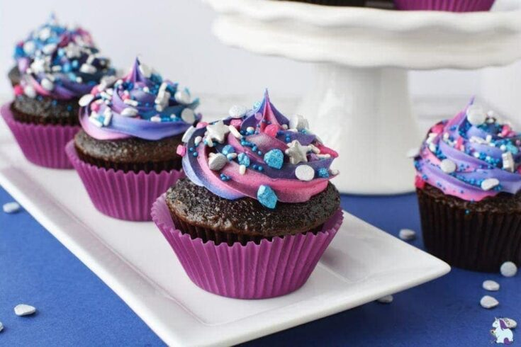 pretty purple and blue frosted chocolate cupcakes