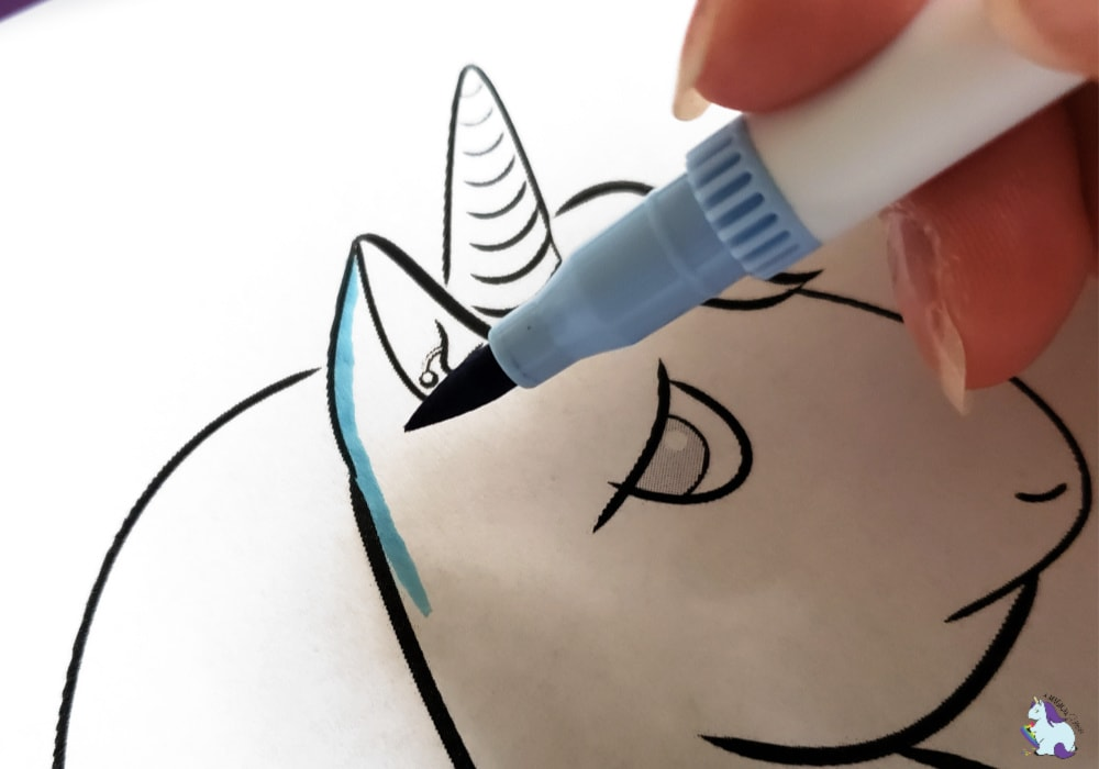 blue brush tip marker unicorn coloring page