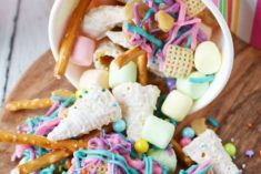 Unicorn party mix on a board