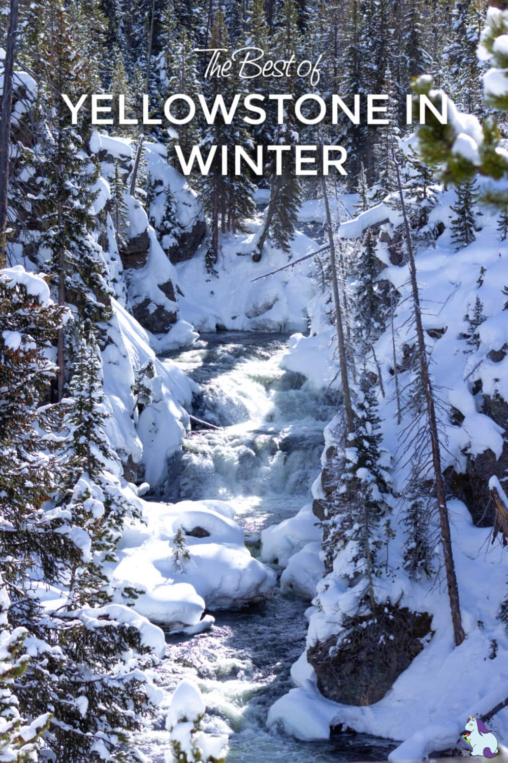 Waterfall in Yellowstone National Park in winter
