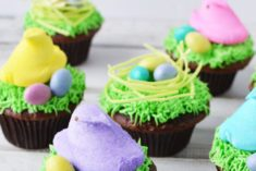 Peeps and eggs on nest cupcakes