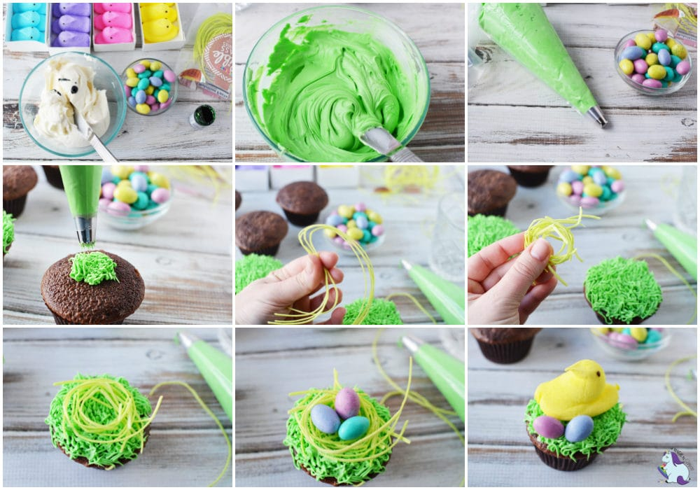 Easter cupcakes with Peeps recipe steps