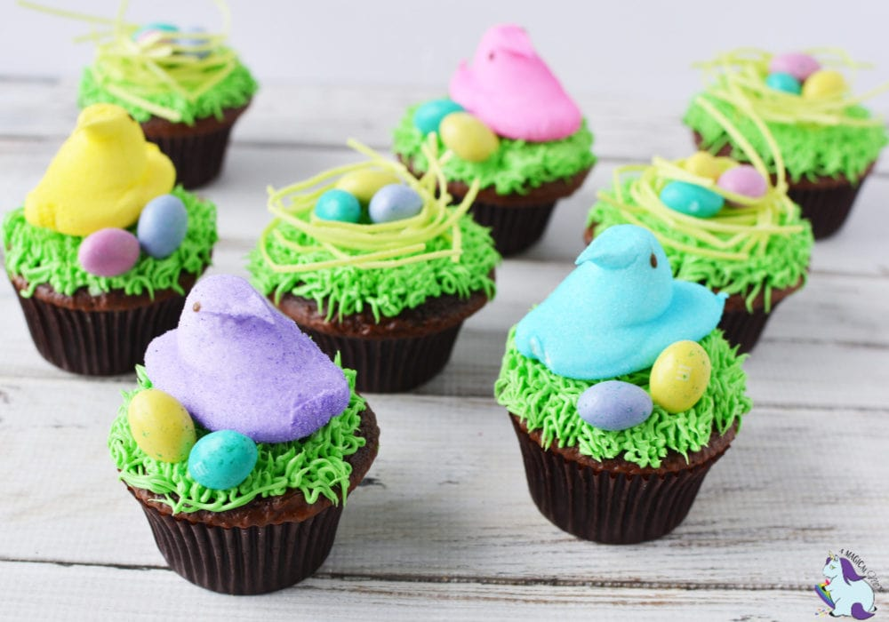 Easter Cupcakes with Peep's Nests