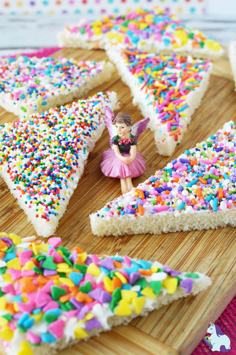Colorful fairy bread on cutting board