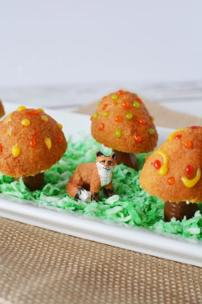 donut holes made into fairy toadstools