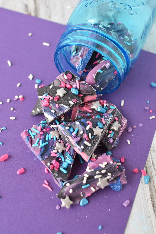 Mason jar with space bark candy.