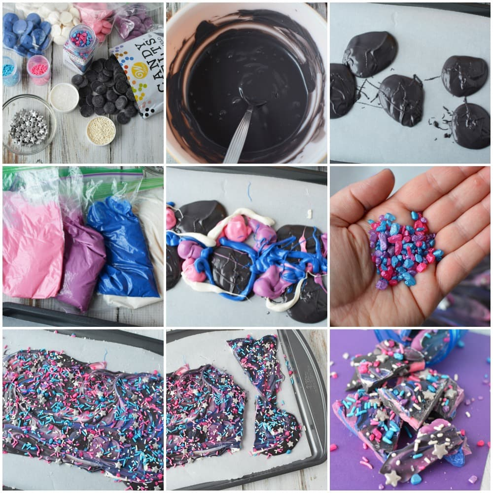 In process steps to make galaxy bark candy.