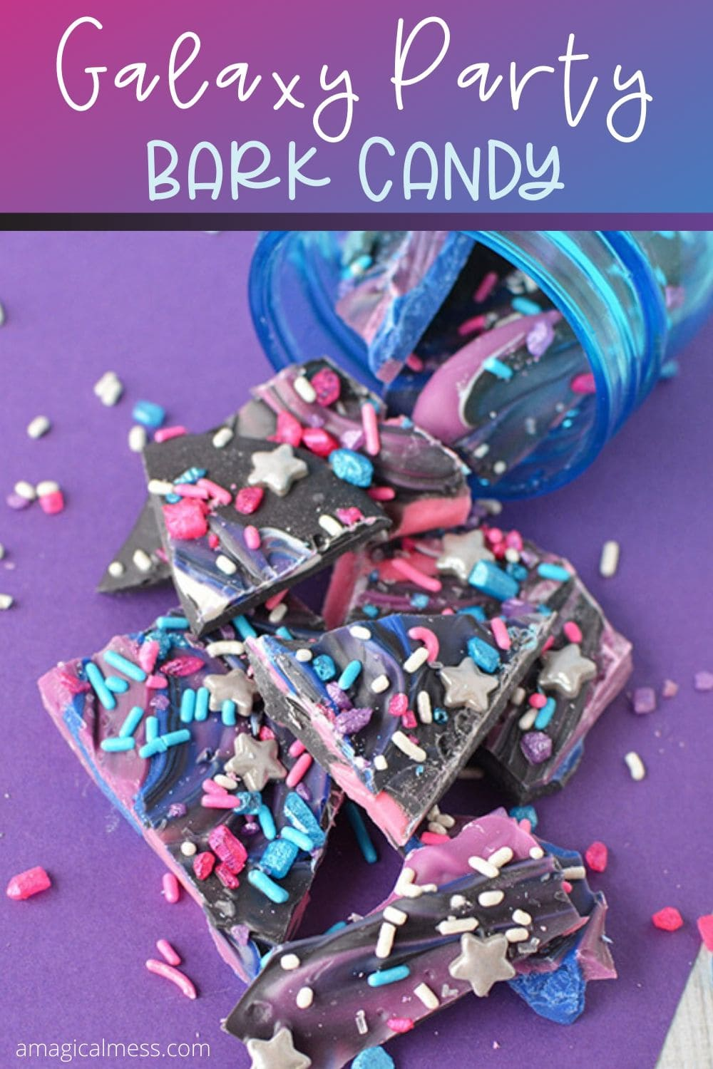 candy dumped out of blue jar