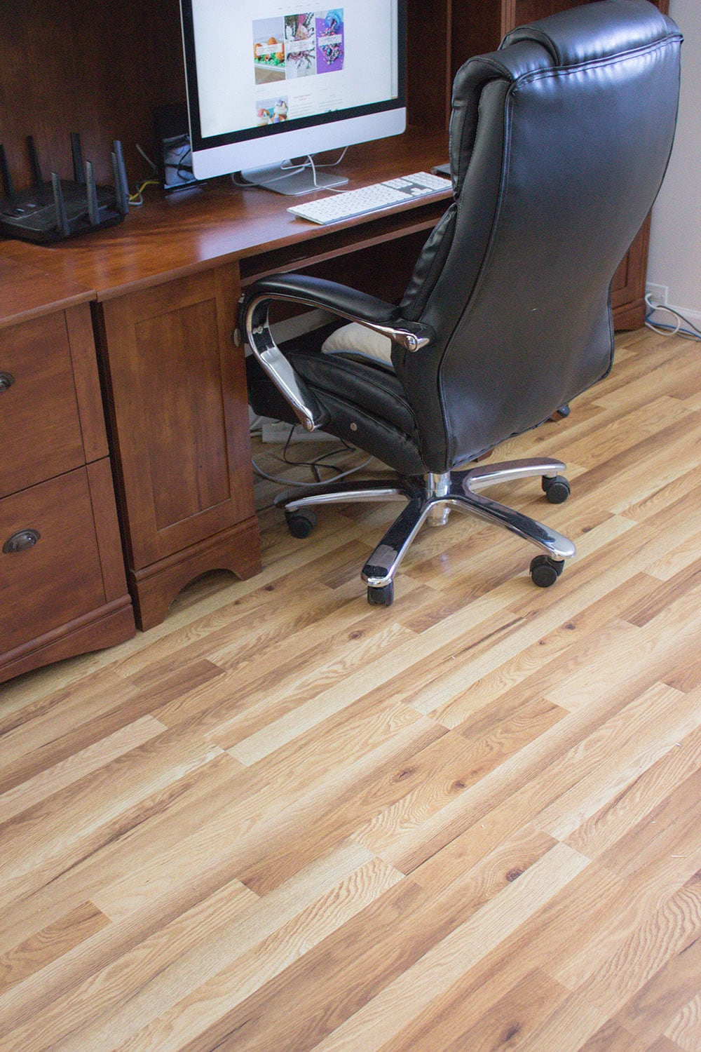 Declutter the office and install new floor